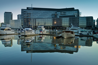 ANZ Building and Marina Reflected