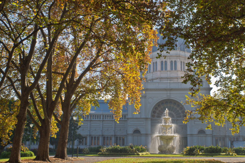 Exhibition Building Melbourne in Autumn