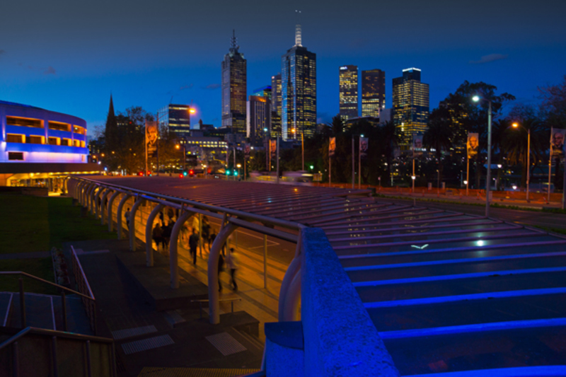 Melbourne Night Skyline from the Arts Centre