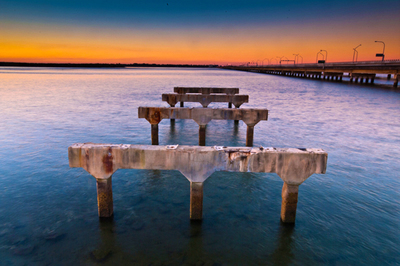Remains of old Bridge Redcliffe Queensland